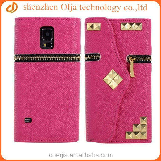 Punk stud wallet pu leather cell phone case