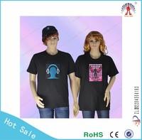 2015 new design led Flashing el t-shirts super brightness cotton el t shirt factory new design sound activated el the panel