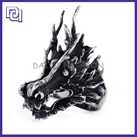EUROPEAN AND USA DESIGN STAINLESS STEEL MILITARY MAN RING,KNIGHTS TEMPLAR DRAGON SHAPE POPULAR RING FOR COOL MAN