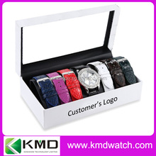 Fashion Lady gift watch set with interchangeable leather straps