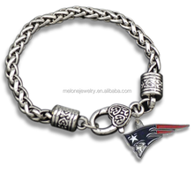 NFL New England Patriots Team Logo Silver-Tone Metal Charms Bracelet For Fans