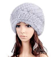 CX-C-118A Natural Color Knitted Wholesale Popular Genuine Mink Fur Canadian Hat