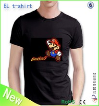 O and V neck!sound activated blank el flashing t shirt with changeable panels