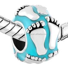 custom made charms wholesale Aquamarine Blue Lucky Charm Bracelet New Baby First Steps Footprint Fit Bracelets