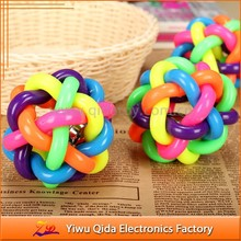 new pet colorful rubber dog toy ball with bell inside