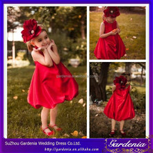 New Designer Taffeta Cute Jewel Neck Zipper Back Bubble A-line Lovely Red Flower Girl Dress Patterns 2012(SA1085)