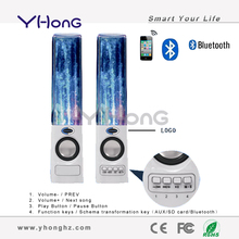 Supporting TF card & FM Radio, the dual stereo design bluetooth water dancing mobile speaker