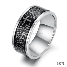 Fashion Stainless steel scriptures ring settings without stones for men