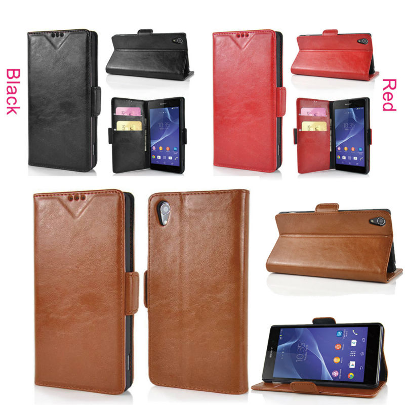 Alibaba China leather flip case for sony z2 case cover with card slot holder