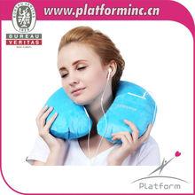 wholesale U shape washable and removable inflatable folding travel neck pillow
