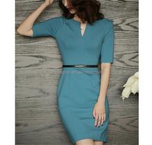 Elegant design plain women office wear wrap dress with belt