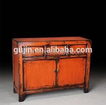 distressed solid wood sideboard buffet 3 drawers 2 doors orange