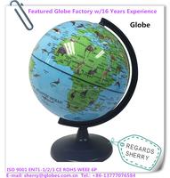 6 inch Medium Plastic World Globe Animal Map