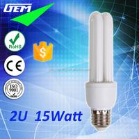 8000Hrs Tri-phosphor CFL T4 Tube Energy Saving 15W 2U Bulbs