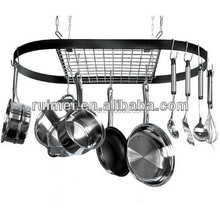 Kitchen Used Metal Hanging Pot Rack With Hooks