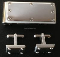 Souvenir Gift 316L stainless steel high polished money clip matching cufflinks set