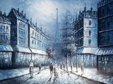 2015 new handmade paris building wall art canvas oil painting factory direct 17239