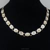 hot sales handmade alloy necklace gold necklace with pearl & CZ diamond