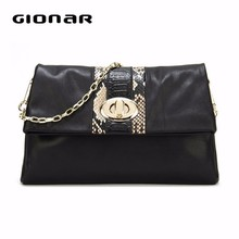 Fold Cover Soft Sheep Leather Clutch Bag From Guangzhou Bag Factory