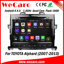 """Wecaro android 4.4.4 car dvd player Direct factory 9"""" for toyota alphard car radio dvd Wifi&3G 2007 - 2013"""