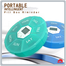 Mini electronic reminder 7 day weekly pill holder sorter container dispenser tablets medicine case box