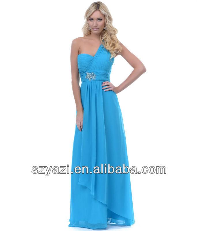 Una del hombro del diseño azules vestidos mujeres largas k410