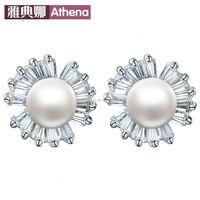 925 sterling silver pearl earrings diamond earrings crystal zircon creative clover earring jewelry shop agent