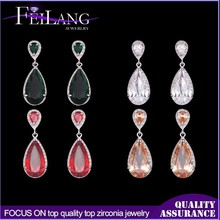Wholesale Platinum Plated Water Drop Sparkling Big Crystal Drop Earring