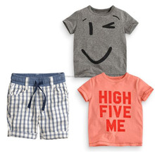 T5567 grey short sleeve smile T-shirt+ Orange letter short sleeve T-shirt + lattice shorts Boy summer casual three pieces suits