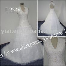 2011 drop shipping low price free shipping high quality Real beaded strapless lace ball gown lace a-line wedding dress JJ2348