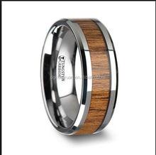 China manufacter Top quality koa wood inlay tungsten carbide ring koa wood titanium ring