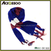 Promotion thickness colorful stripes jacquard knit tassel scarf