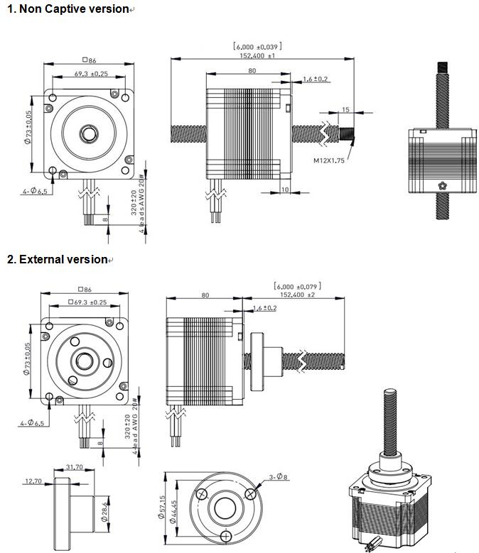 nema 34 86mm hybrid linear stepper motor catalogue lead