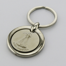 two-tone color metal round spinning keyring