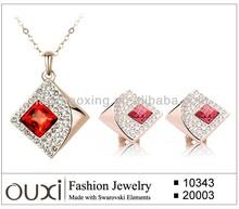 OUXI 2015 wholesale jewelry set 18k gold plated fashion necklace jewelry set