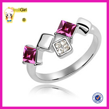 Hot sale bouble square zircon ring china supplier wholesale square ring jewelry