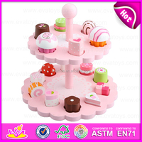 New exotic products creative wooden cake toy,Two layers Wooden kitchen sets kids cake toy toy W10B135