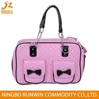 Pink Designer Portable Pet Carrier With Zip Bags Bicycle Bags Cat Pet Carrier