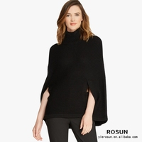 Black luxurious elegant mock neck Pullover poncho