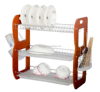 3 Tier Wooden Kitchen Cabinet Dishes Rack