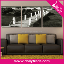 wooden bridge over the river handmade natural scenery painting canvas black and white