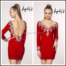 Long Sleeve Formal Latest Designs Custom Made Short Mini Cocktail Occasion Party CD087 red designer one piece party dress