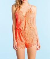 Custom design beautiful girls orange lace jumpsuit sexy romper creochet jumpsuit