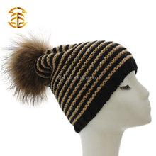 2015 New Design Warm Winter Striped Wool Knit Beanie Hat With Genuine Raccoon Fur Pom Poms