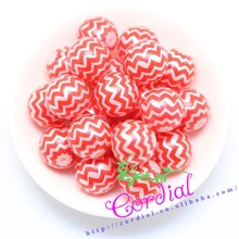 In Stock Wholesale Cheap Fashionable Fake Pearl Color Red Chevron Pattern Printing Pearl Designs