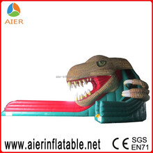Professional green inflatable dragon riptide water slide