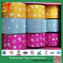 XJ-TAPE Custom Printed Decorative Glitter Tape ,gift tape