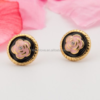 beautiful gold plated earrings with rose flower Carving stud for girls