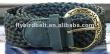 Mens Blue Braided Genuine Leather Belt