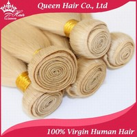 Queen hair products stain blonde color #613 Brazilian virgin hair straight 100% human hair 5pcs/lots DHL Free Shipping